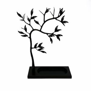 Jewelry - Sculpted Jewelry Tree Stand with Tray Black Metal